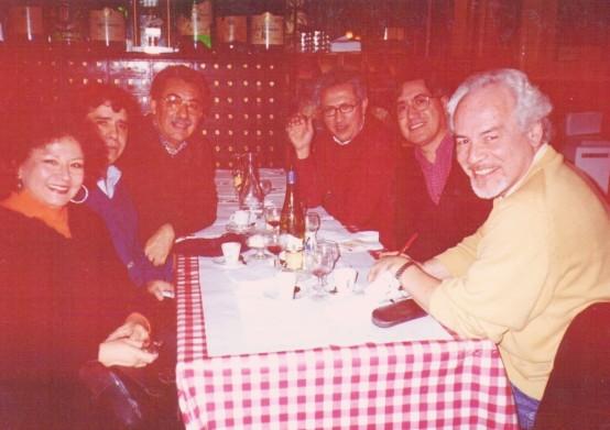 Poetas de los 70': Sonia Luz Carrillo, Elqui Burgos, Ricardo Falla Barreda, Jorge Nájar, Alfredo Pita y Patrick Rosas. París 2005