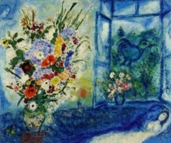 Florero delante de una ventana. Marc Chagall, 1959