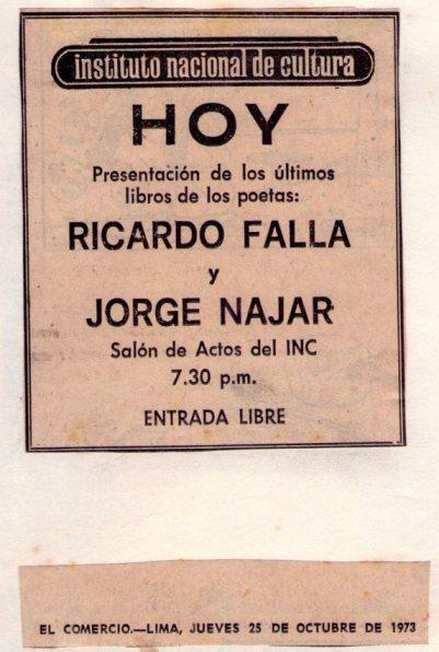 Miren qué hallazgo! El aviso publicado por el INC en El Comercio, hace cuarenta años, anunciando la presentación de los libros de Ricardo y Jorge.