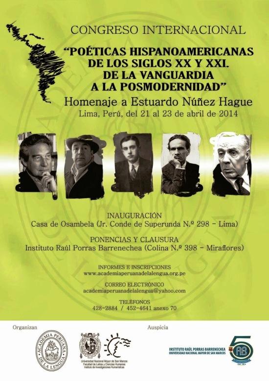 AFICHE - CONGRESO POÉTICAS HISPANOAMERICANAS DE LOS SIGLOS XX Y XXI
