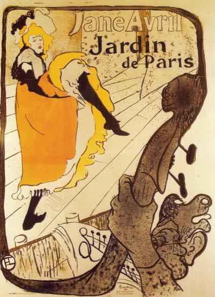 Jane Avril en el Jardín de París. cartel, 130 x 94 cm. 1893