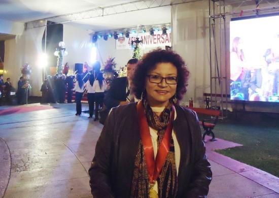 Agradecida por la distinción. Sonia Luz Carrillo en Pueblo Libre